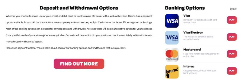 Spin Deposit and Payout at the Casino